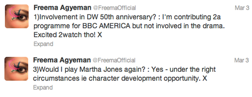 Shocker: Freema Agyeman NOT Returning for Doctor Who 50th Special!