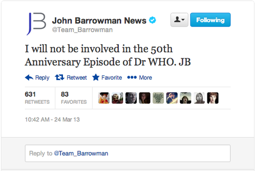 John Barrowman (Jack Harkness) NOT Coming Back for Doctor Who 50th!