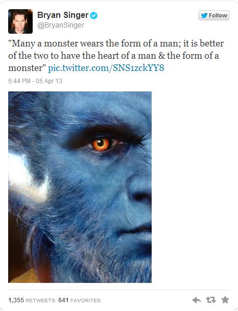 X-Men Director Bryan Singer Tweets New Photo Of Beast!