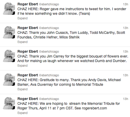 Robert Ebert's Grieving Widow Tweets Her Thanks!