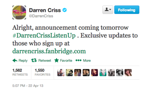 DARREN CRISS FANS: Tour Dates Are HERE