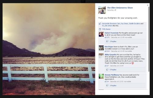 Ellen DeGeneres Thanks Firefighters in Wake of Farm Blaze