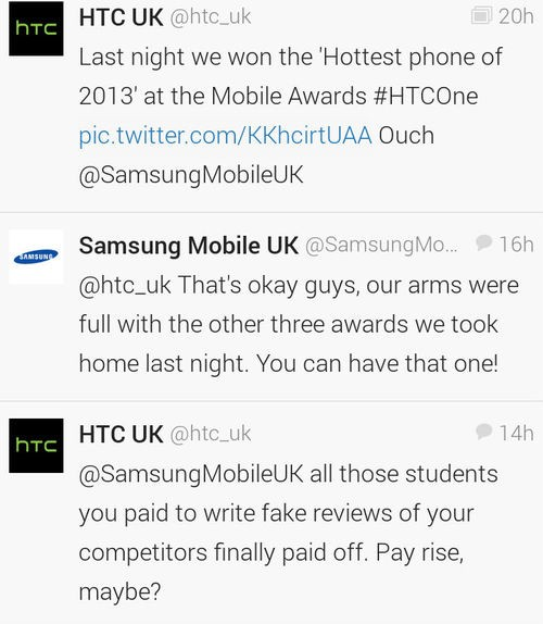 Samsung and HTC Get Into a Catfight After Mobile Industry Awards
