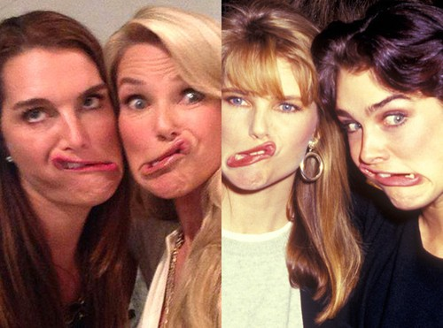 BFF! Christie Brinkley And Brooke Shield Recreate Silly Photo!