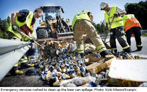Beer, Beer Everywhere On A Swedish Highway!