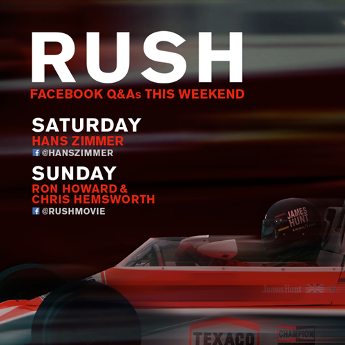 Ron Howard & Chris Hemsworth To Conduct Rush Facebook Q&A Today