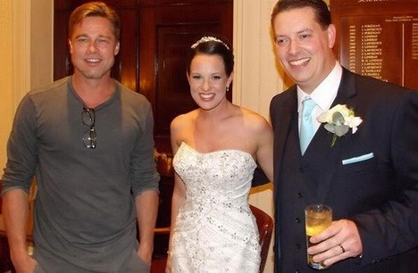 Something Old, New, Borrowed And Hot? Brad Pitt Poses With Newlyweds At Their Reception