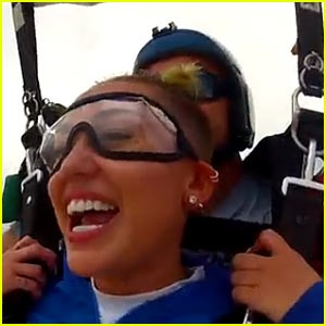 Miley Takes To The Skies And Jumps Out Of A Plane