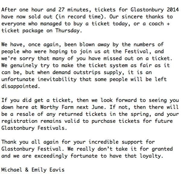 Glastonbury Music Festival Sells Out In Record Time