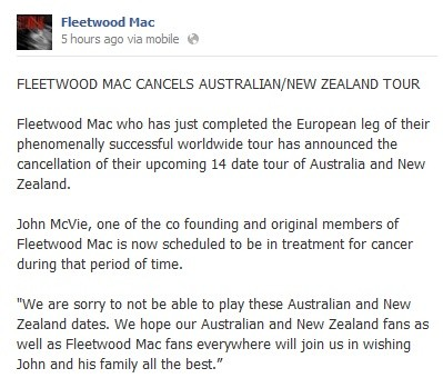 Fleetwood Mac Cancels Australian and New Zealand Tour Due To Illness