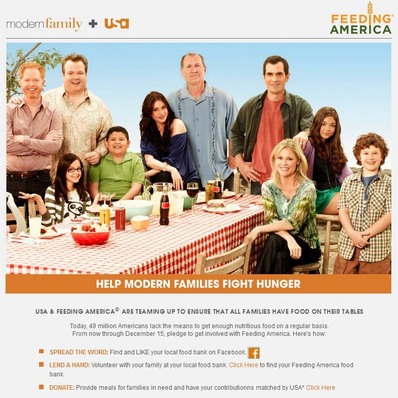 Modern Family And USA Team Up With Feeding America To Help Modern Families
