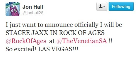 Jon Hall Heading To Vegas To Star As Rock Of Ages' Stacee Jaxx