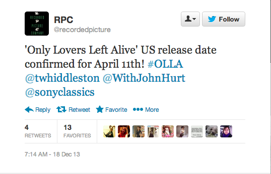 Tom Hiddleston And Tilda Swinton's Only Lovers Left Alive Gets A US Release Date