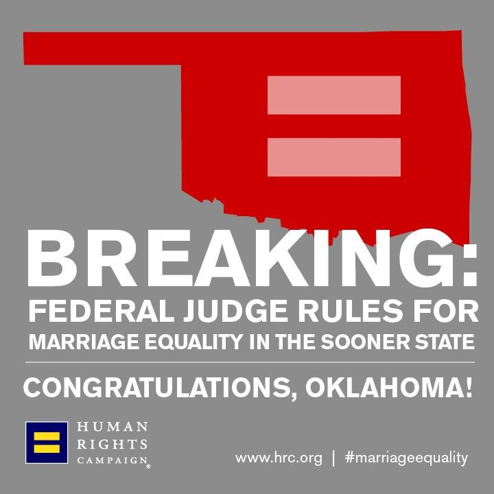 Oklahoma Judge Rules Ban On Gay Marriage Unconstitutional