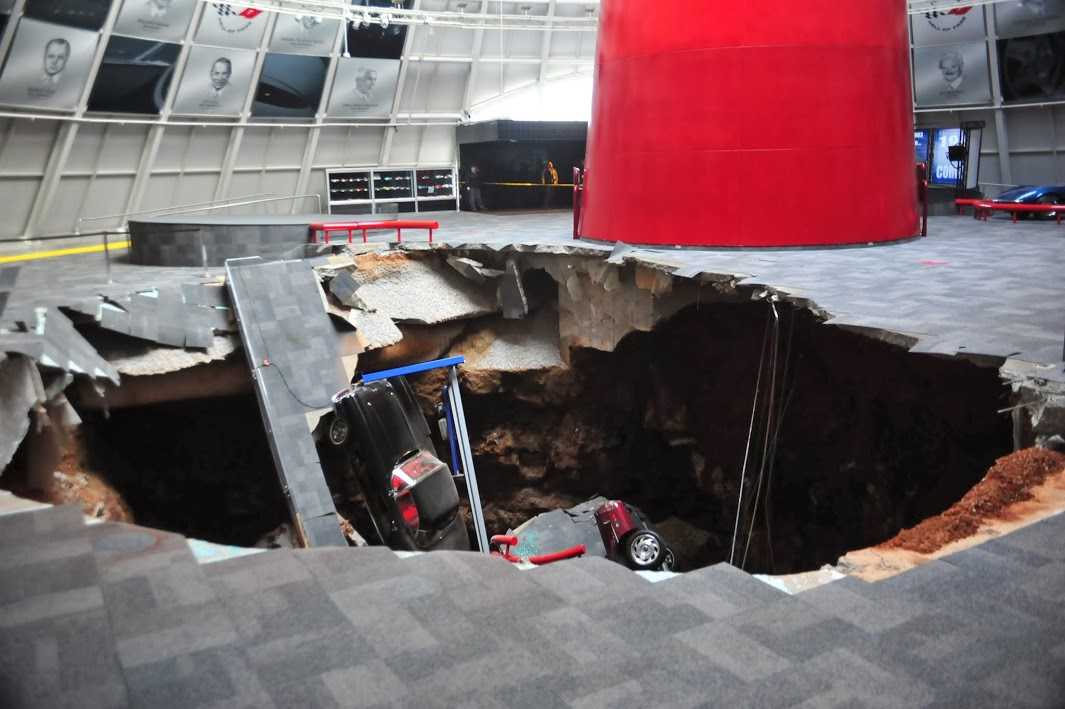 Eight Cars Consumed By Massive Sink Hole At The National Corvette Museum