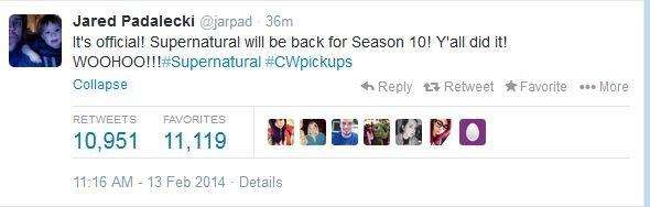 Jared Padalecki Confirms Via Twitter Supernatural Has Been Renewed For Season Ten