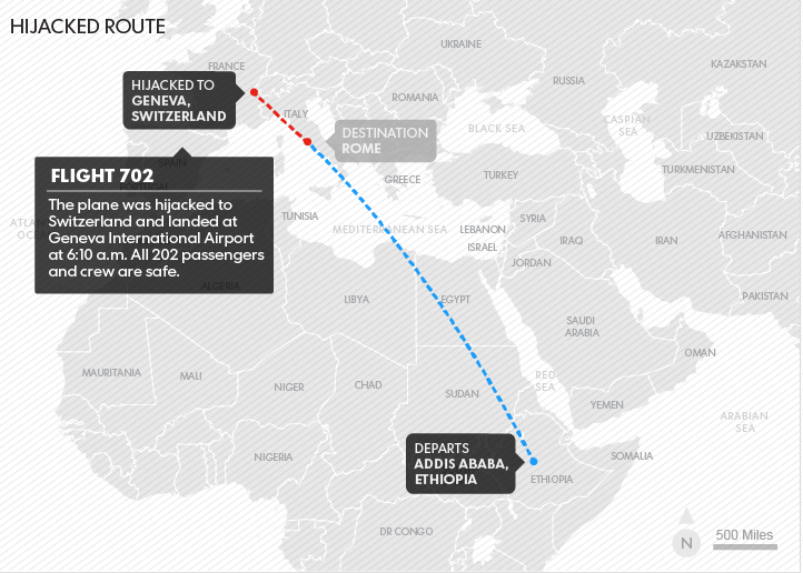 Ethiopian Rome-Bound Flight Has Hijacking By Co-Pilot Averted; Hijacker Placed Under Arrest
