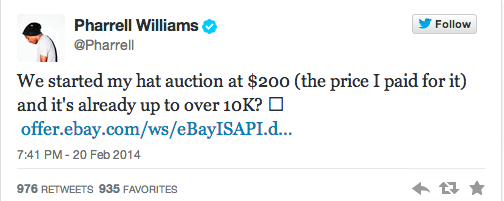 Pharrell Williams Is Auctioning Off His Grammy's Hat For Charity, Bids Now At $10K