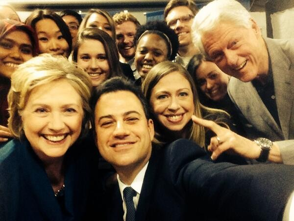 Is He Going For Ellen's Selfie Throne? Jimmy Kimmel Posts Group Shot With The Clintons