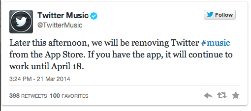 Twitter Music Is Shutting Down For Good On April 18th