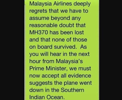 Malaysia Airlines Releases Fatal News Of Flight MH 370 Via Text Message