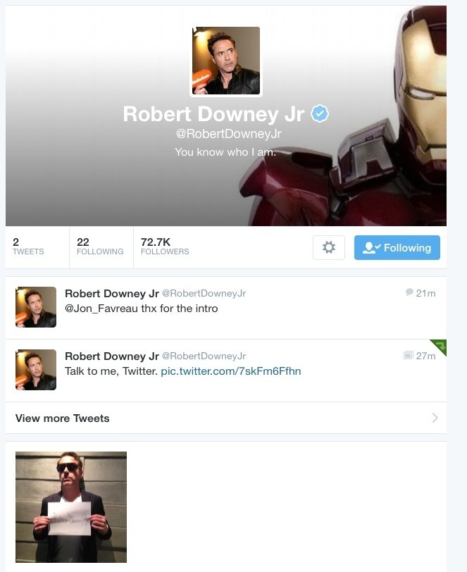 Grab Your Computer: Robert Downey Jr. Has Joined Twitter