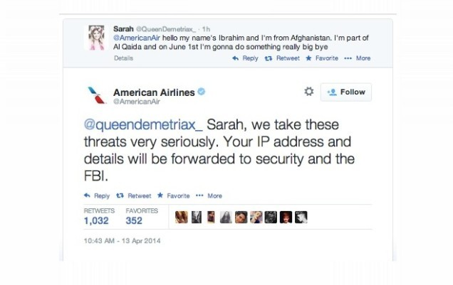Bored Young Girl Tweets Terrorist Threat To American Airlines, Immediately Regrets It