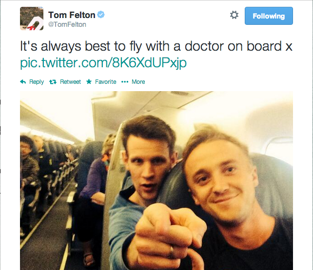 There's Magic In The Air: Matt Smith, Karen Gillian, And Tom Felton Take Selfies On Their Shared Flight