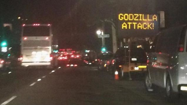 Hacker Shows Support For New Godzilla Film On Road Sign