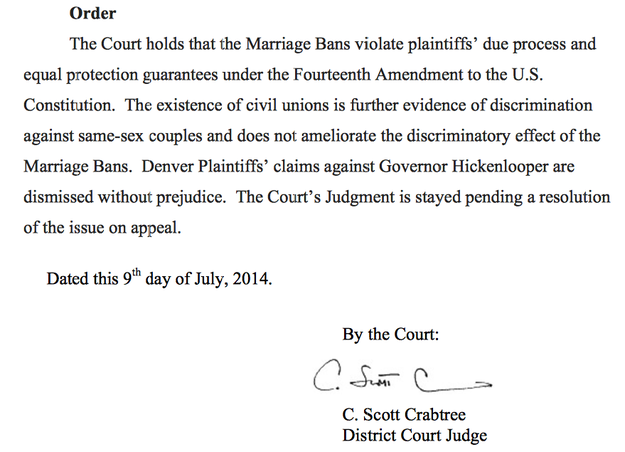 Colorado Joins Other Pro-LGBT States As Their Ban On Gay Marriage Is Struck Down
