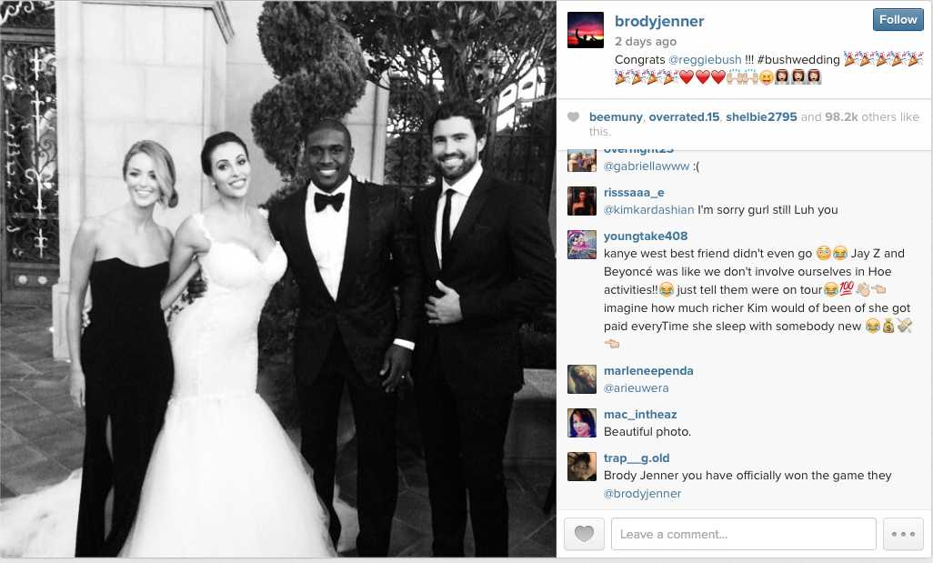 Did Brody Jenner Diss Kim Kardashian By Attending Reggie Bush And Lilit Avagyan's Wedding?