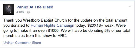Panic! At The Disco Pledges $20 For Every Westboro Baptist Church Member Who Pickets Their Concert