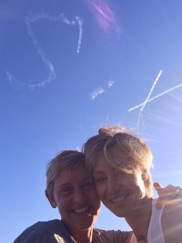 Portia De Rossi Surprises Wife Ellen DeGeneres With Sky Written Anniversary Gift | Ellen DeGeneres