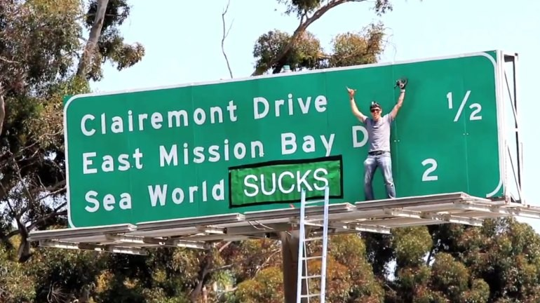Jackass' Steve-O Vandalizes I-5 Sign In The Name Of Animal Rights | Steve-O