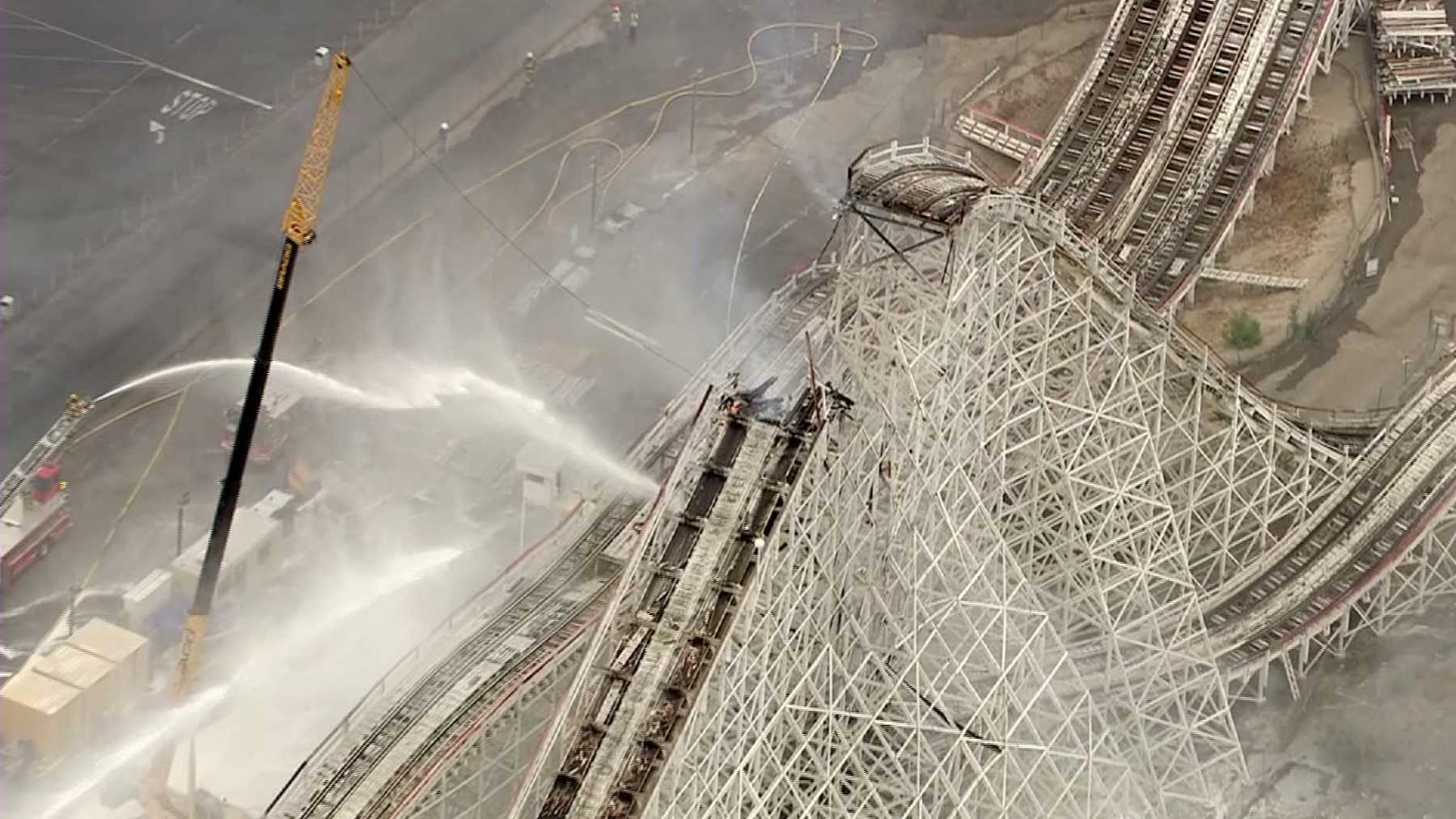 Colossus Rollercoaster At Six Flags Magic Mountain Damaged In Fire | colossus