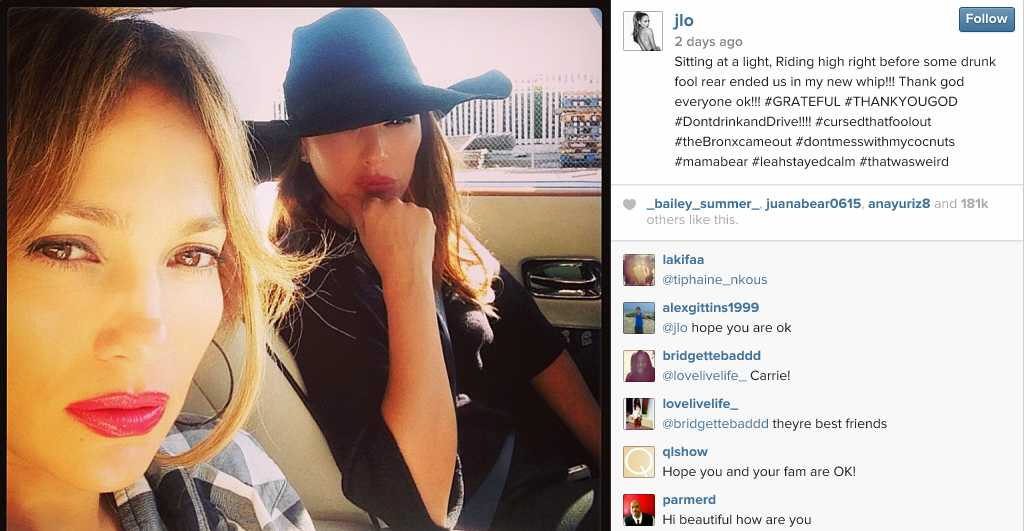 Jennifer Lopez and Leah Remini Rear Ended By Suspected Drunk Driver | Jennifer Lopez