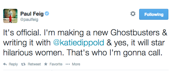 Paul Feig Confirms All-Female Ghostbusters Movie | ghostbusters