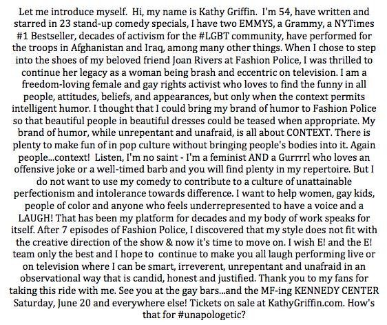 Kathy Griffin Quits Fashion Police | Kathy Griffin