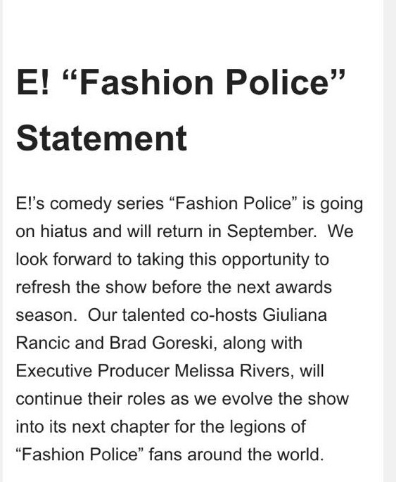 E! Announces Hiatus For 'Fashion Police