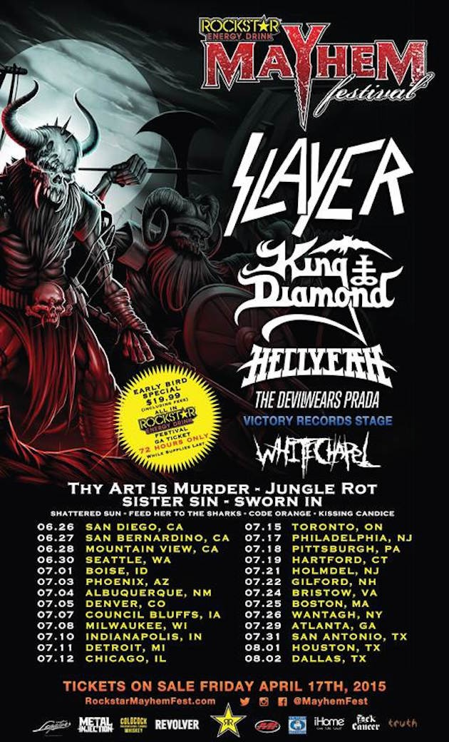 Slayer, King Diamond To Headline Rockstar Mayhem Festival | Rockstar Mayhem