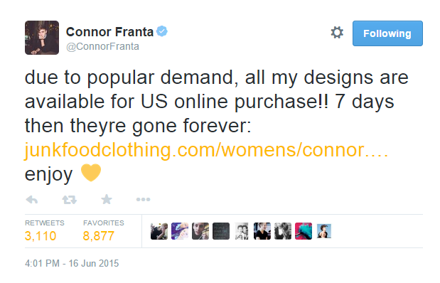 Connor Franta Launches Limited Edition Clothing Line | Connor Franta