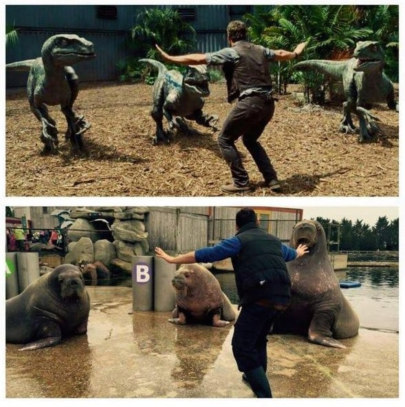 Jurassic World Scene Of Pratt Taming Raptors Gets Spoofed By Zookeepers | Jurassic World