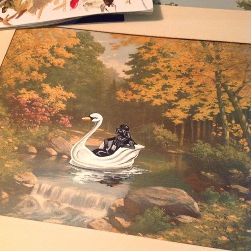 Artist Adds New Geeky Life To Thrift Store Paintings | Paintings