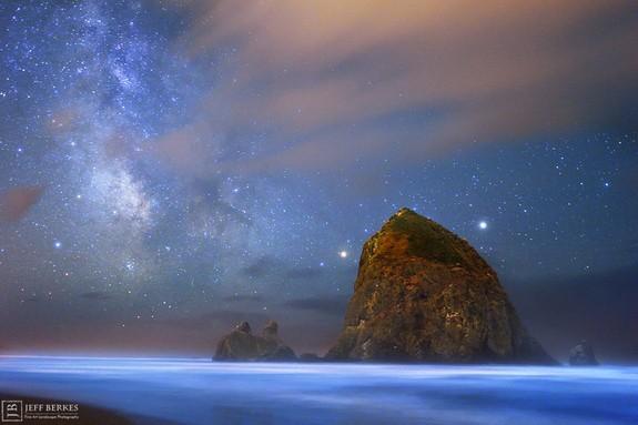 The Ocean Glows Blue Under The Milky Way   Ocean