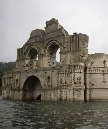 Drought Reveals 16th Century Church Once Hidden Underwater | church
