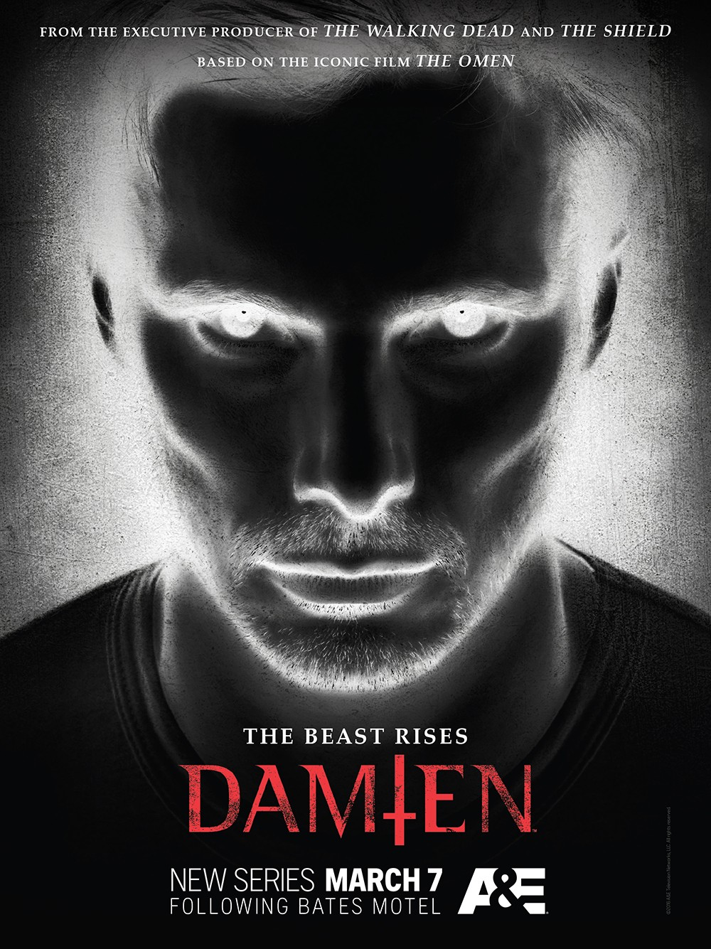 First Key Visual Art For A&E's Horror-Drama Damien Unveiled | horror-drama