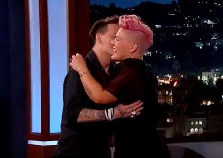 Pink Fangirls Over Hug From Celebrity Crush, Johnny Depp | Pink