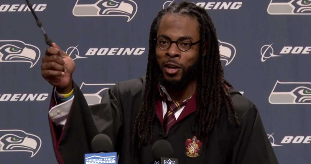 NFL Player Richard Sherman Attends Press Conference As Harry Potter | Sherman