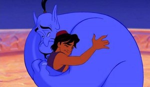 Aladdin hugs the Genie