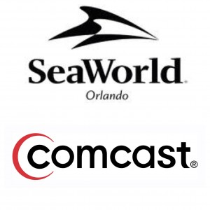 Comcast and Sea World logos